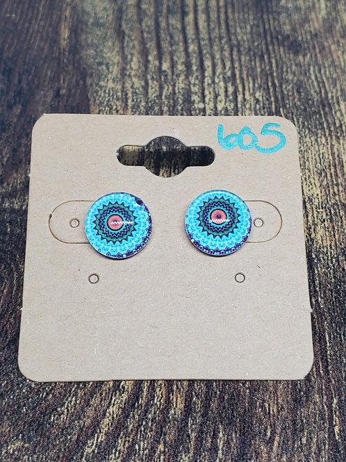 Blue, Green, Orange Mandala Post Earrings