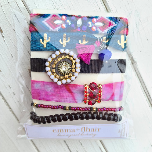 Jeweled Cactus - Hair Tie Bracelet Stacks