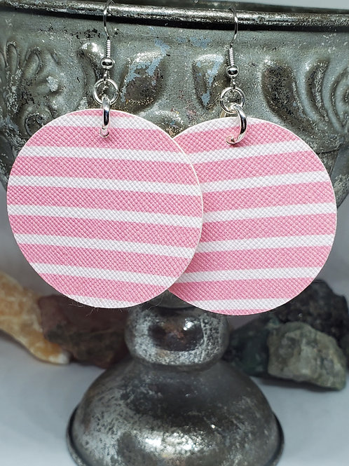 Large Circles Light Pink & White Stripes Faux Leather