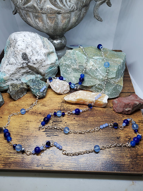 """Shades of Blue Beaded Necklace w/43"""" Silver Chain"""