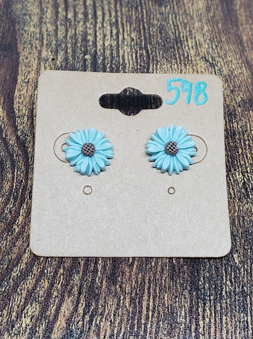 Light Blue Flowers w/Brown Centers Post Earrings