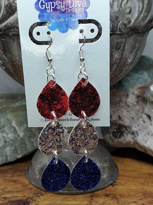 Americana Triple Glitter Dangle Earrings