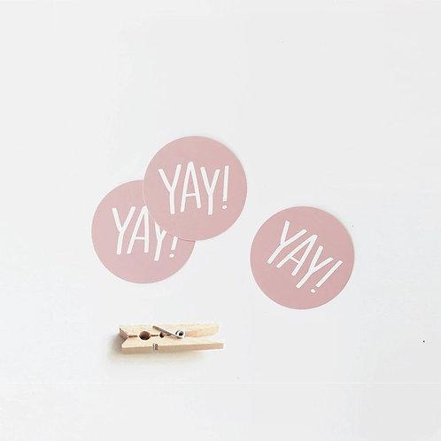 """YAY!"" Mini Circle Flat Card - Set of 10"
