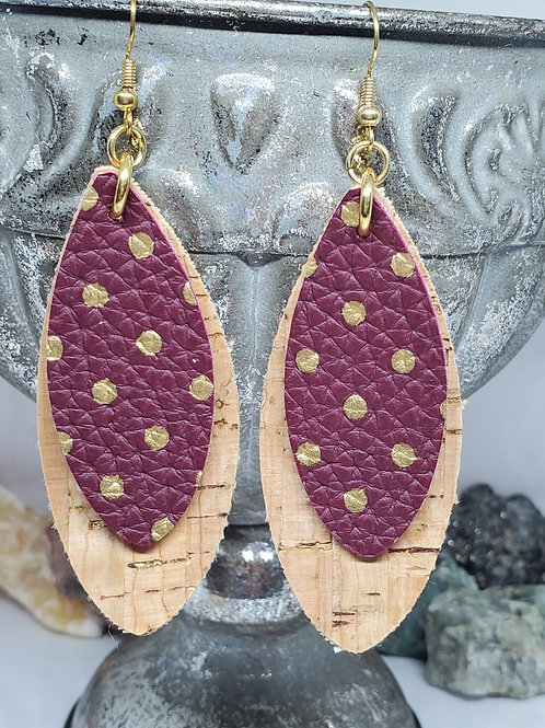 Large Leaf Cut Double Layer Cork & Burgundy with Gold Polka-dot Faux Leather