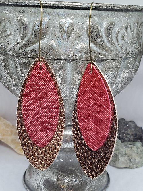 Large Leaf Cut Double Layer Metallic Antique Bronze & Burgundy Faux Leather
