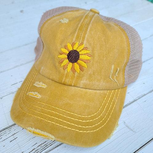 Mustard Daisy Ponytail Hat
