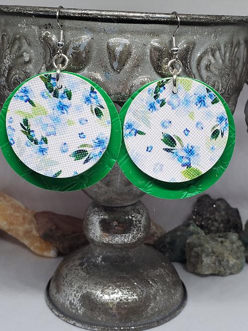 Medium Circles Double Layer Tufted Green & Blue Hydrangeas Floral Print