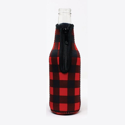 Insulated Bottle Sleeve -  Red Plaid