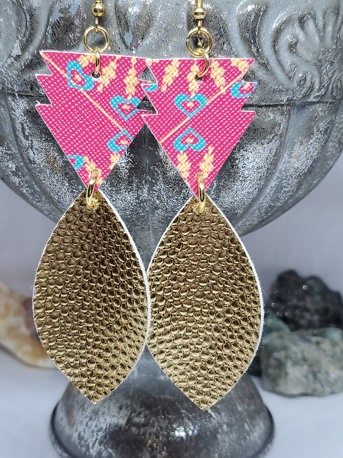 Stacked Arrow & Leaf Cut Boho Print & Metallic Gold Faux Leather