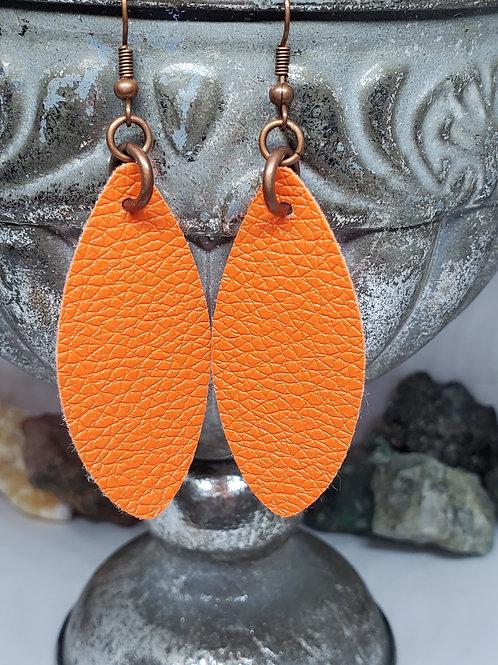 Small Angled Leaf Cut Soft Orange Faux Leather