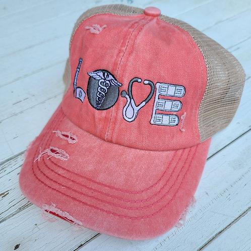 "Coral & Grey ""Nurse Love""  Ponytail Hat"