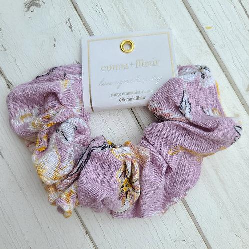 Lavender Floral Knit Scrunchie