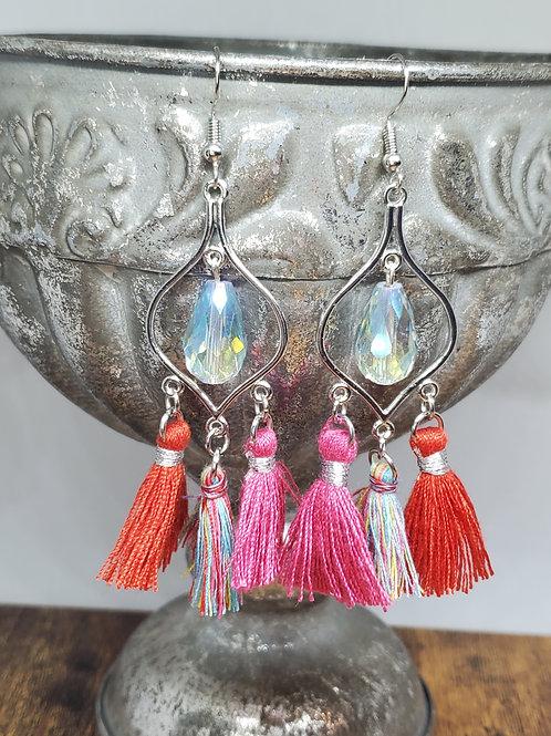 Multicolored Tassels & Drop Bead Chandeliers