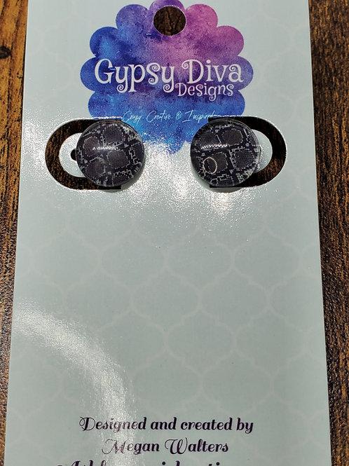 Black & Gray Snakeskin Post Earrings