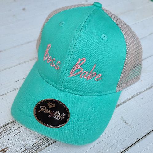 "Mint & Pink ""Boss Babe"" Ponytail Hat"