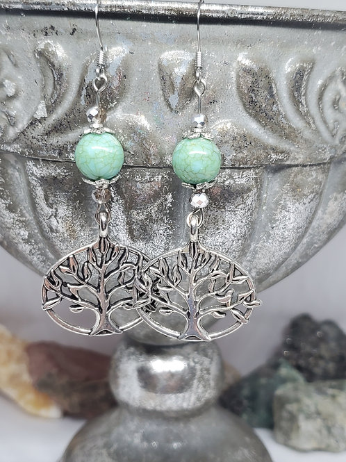 Tree of Life Dangle with Small Green Crackle Beads