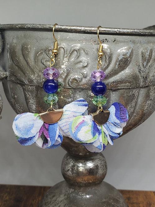 Watercolor Blue, Green & Purple Chiffon Petal Fans w/3 Beads
