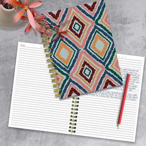 Ikat Boho Chic Spiral Lined Journal