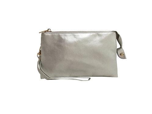 Faux Leather Crossbody & Wristlet - Silver