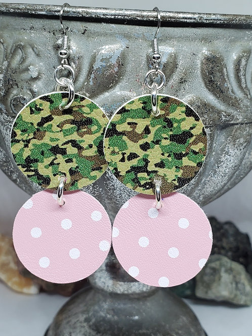 Small Stacked Circles Army Camo, & Light Pink with White Polka-dots Faux Leather