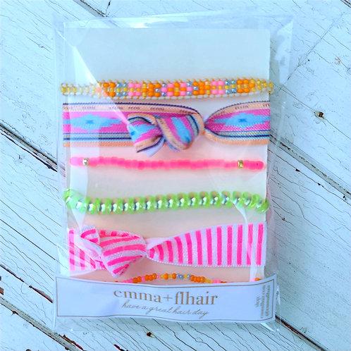 Summer Pinks - Hair Tie Bracelet Stacks