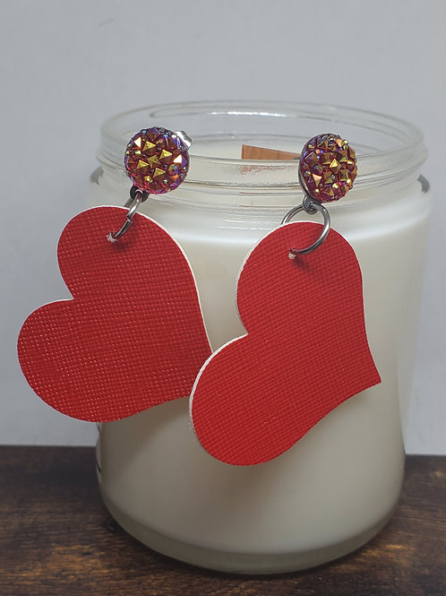 Iridescent Red Druzy Post with Large Angled Red Heart Faux Leather