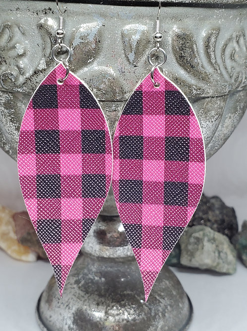 Large Angled Leaf Hot Pink & Black Buffalo Plaid Faux Leather