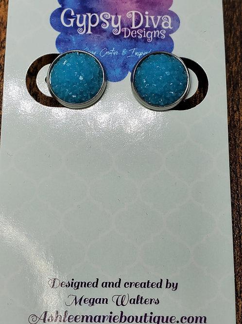 Deep Aqua Druzy w/Silver Bezel Setting Post Earrings