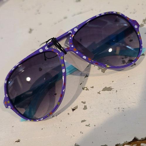 Kids' Polka-Dot Aviator Sunnies - Purple Rims