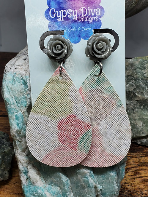 Medium Teardrop Coral, Pink, Gray, Cream & Mint Rose Print w/Gray Rose Post