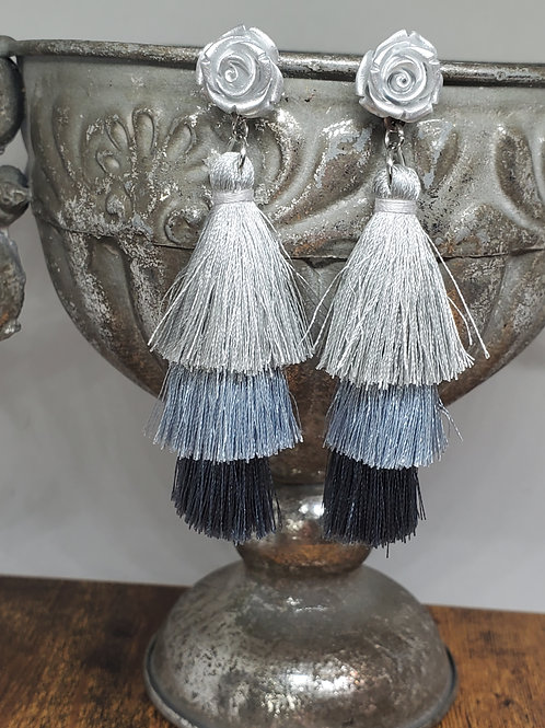 Grey Ombre Large Tassels w/Silver Rose Posts