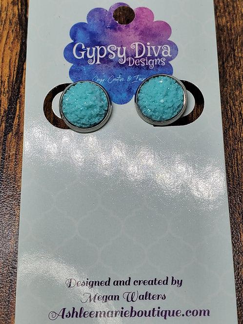 Aqua Druzy w/Silver Bezel Setting Post Earrings