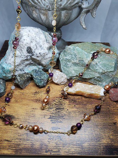 """Purple, Champagne, & Gold  Beaded Necklace w/42"""" Silver Chain"""