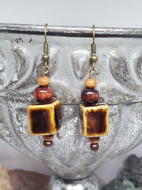 Ceramic Brown Square Beads with Wood Bead Accents