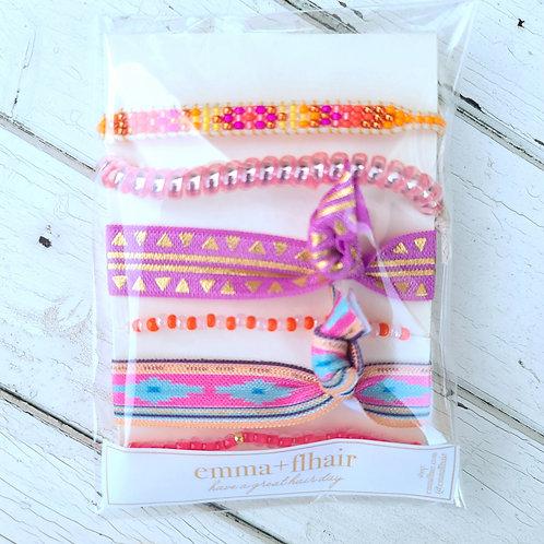 Pink Aztec - Hair Tie Bracelet Stacks