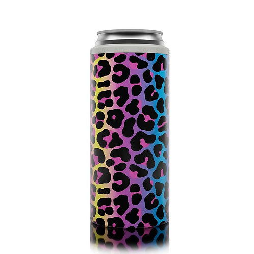 Slim Can Coozie - Neon Leopard