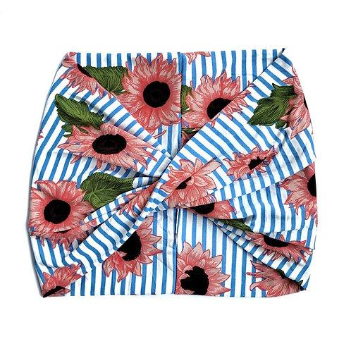 Wide Headband - Pink Sunflower