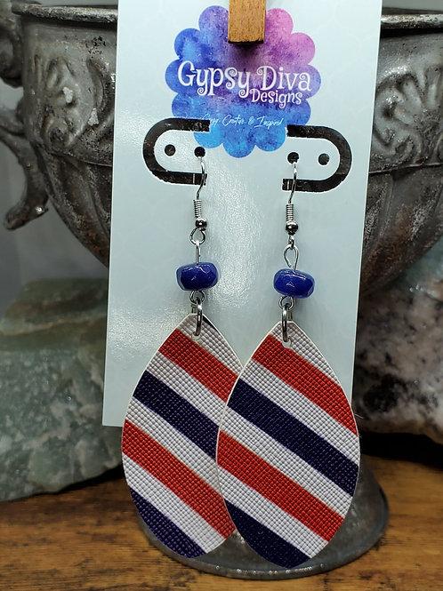 Americana Bead & Faux Leather Dangle Earrings