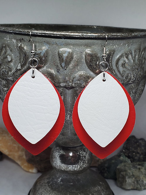 Large Rounded Diamond Cut Double Layer Red & White Faux Leather