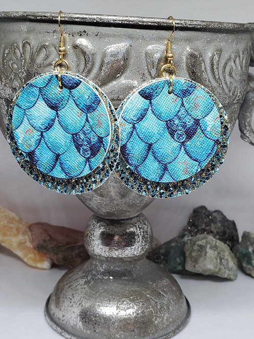 Large Circles Double Layer Aqua & Gold Glitter with Teal/Blue Mermaid Scales