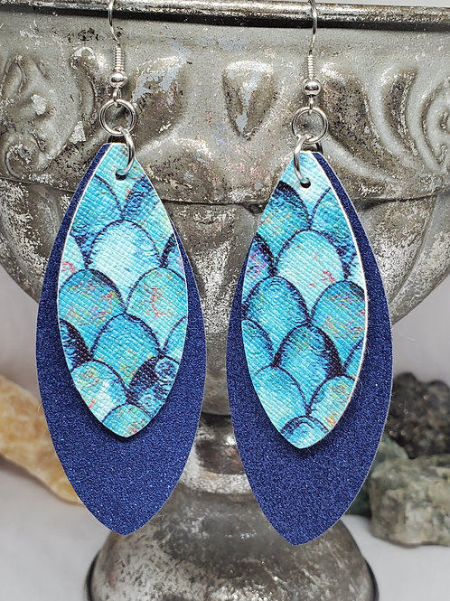 Large Leaf Double Layer Navy Blue Shimmer & Blue/Teal Mermaid Scales