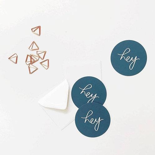 """hey"" Mini Circle Flat Card - Set of 10"