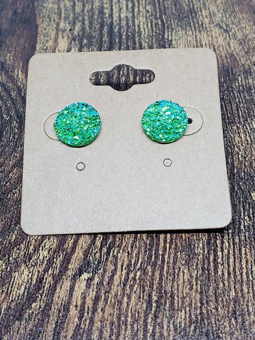 Light Green Iridescent Druzy Post Earrings