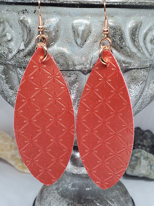 Large Leaf Cut Metallic Coral/Orange Faux Leather with Rose Gold Hardware