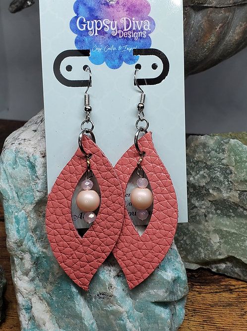 Coral Pink Sassy Leaf Cutout Genuine Leather w/Beads Earrings