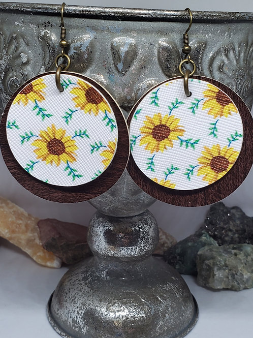Large Circles Double Layer Dark Brown Wood Grain & Sunflowers Faux Leather