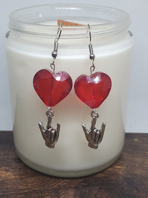 """Crystal Red Heart Bead w/ASL """"I Love YOU"""" Bead"""