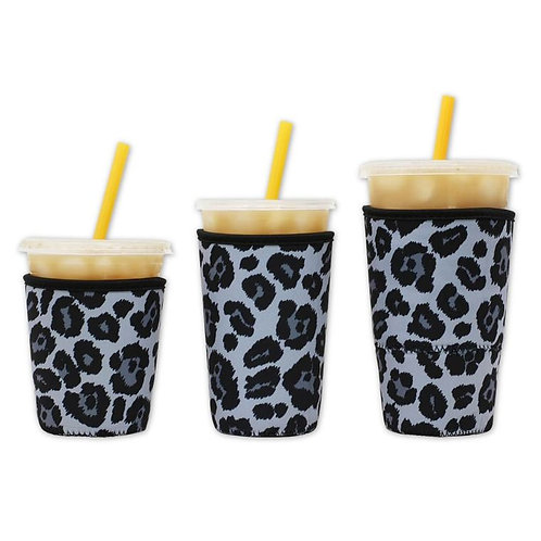 Insulated Drink Sleeve - Grey Leopard Large