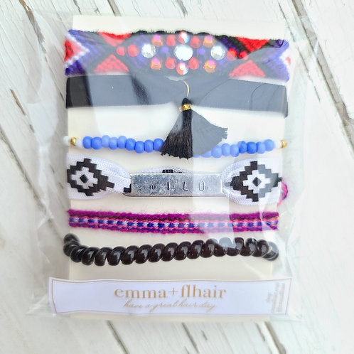 Black & Wild - Hair Tie Bracelet Stacks