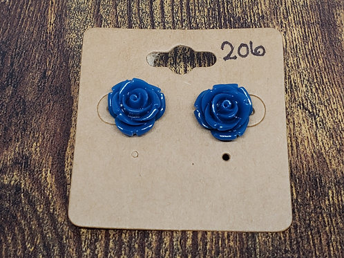 Dark Blue Roses Post Earrings